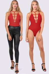 Ladder Caged Front Bodysuit in Red 0
