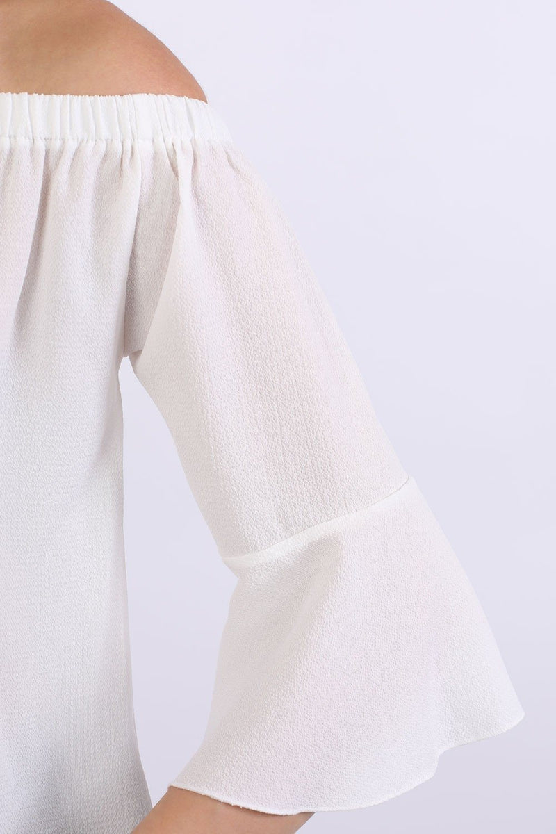 Frill Sleeve Floaty Bardot Top in Ivory White 2