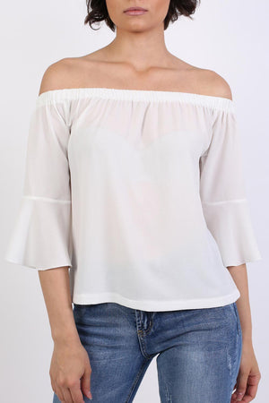 Frill Sleeve Floaty Bardot Top in Ivory White 4