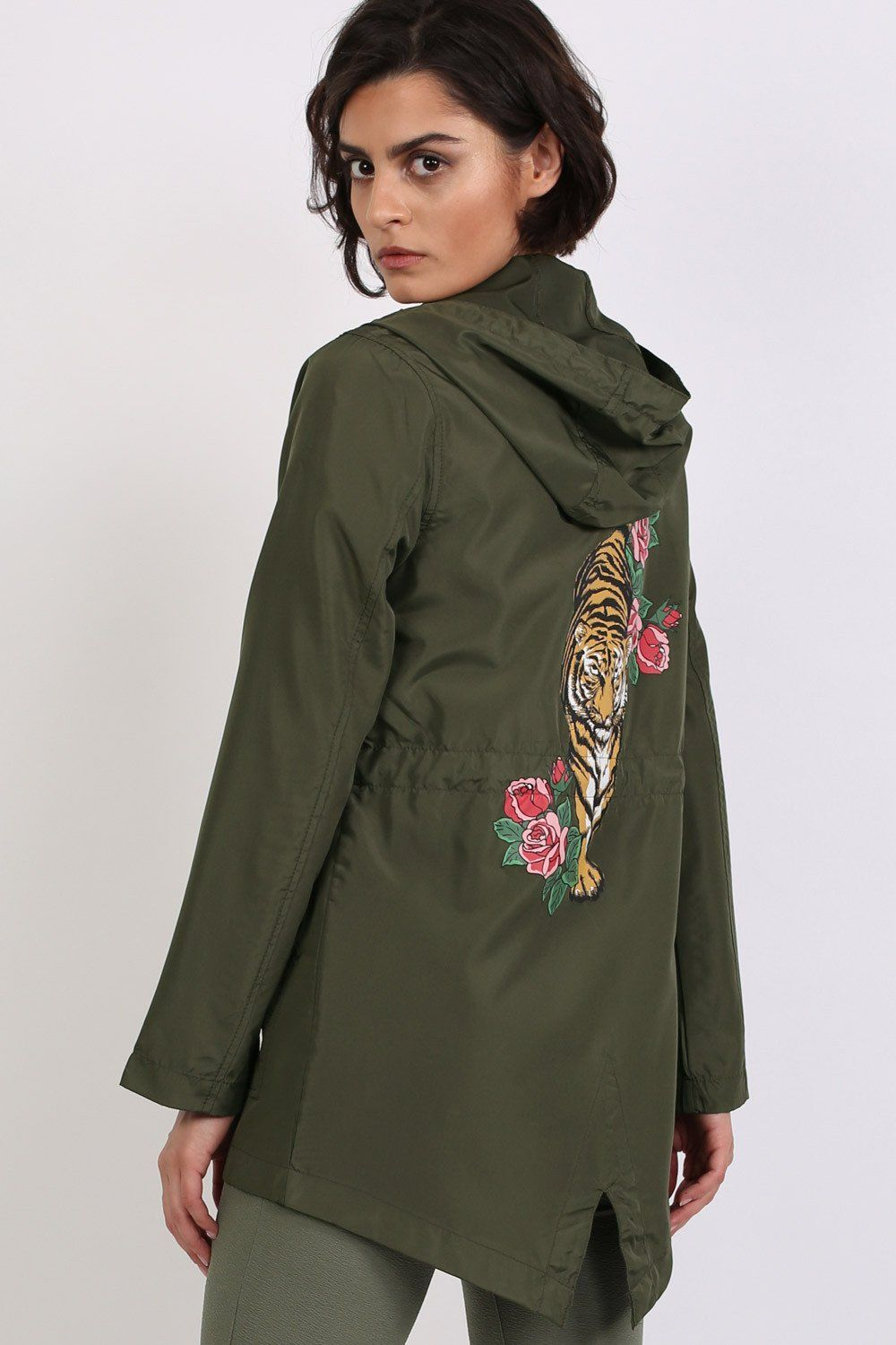 Lightweight Mac Tiger Print Festival Jacket in Khaki Green 0