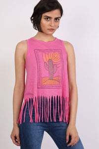 Cactus Desert Print Tassels Vest Top in Candy Pink 0