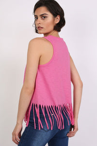 Cactus Desert Print Tassels Vest Top in Candy Pink 1