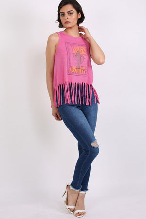 Cactus Desert Print Tassels Vest Top in Candy Pink 2