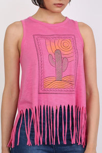 Cactus Desert Print Tassels Vest Top in Candy Pink 3