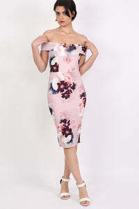 Floral Bardot Bodycon Midi Dress in Dusty Pink 0