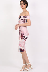 Floral Bardot Bodycon Midi Dress in Dusty Pink 1