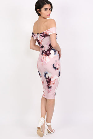 Floral Bardot Bodycon Midi Dress in Dusty Pink 3