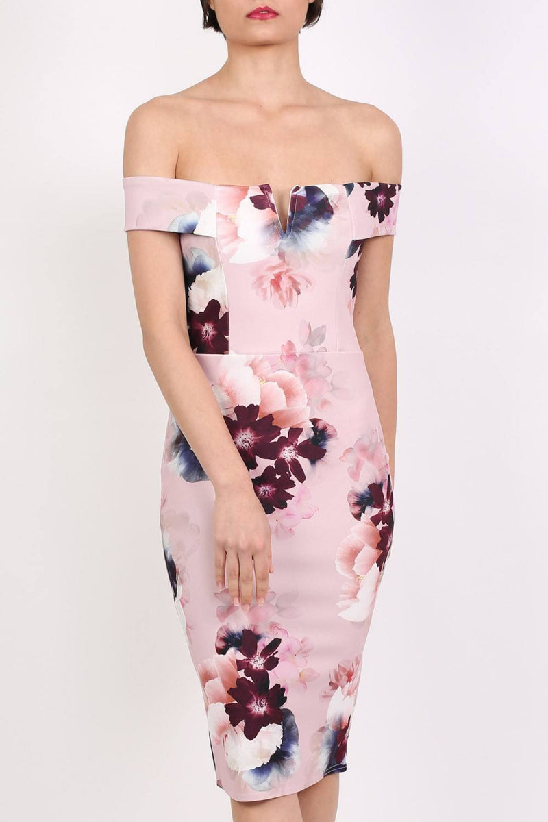 Floral Bardot Bodycon Midi Dress in Dusty Pink 4