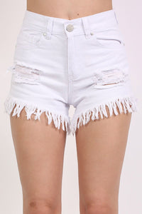 Frayed Hem Shredded Denim Shorts in White 3