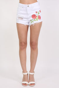 Floral Embroidered Denim Shorts in White 0