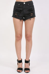 Frayed Hem Ripped Denim Shorts in Black 0