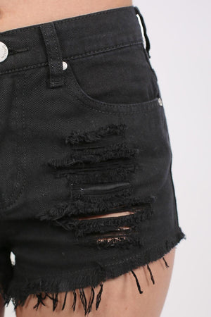 Frayed Hem Ripped Denim Shorts in Black 3