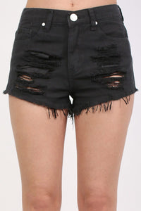Frayed Hem Ripped Denim Shorts in Black 4