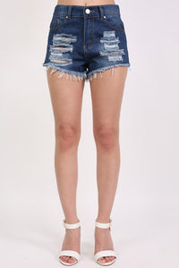 Frayed Hem Ripped Denim Shorts in Denim 0