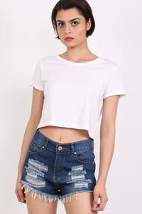 Frayed Hem Ripped Denim Shorts in Denim 1