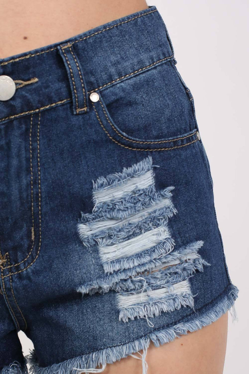 Frayed Hem Ripped Denim Shorts in Denim 3