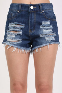 Frayed Hem Ripped Denim Shorts in Denim 4