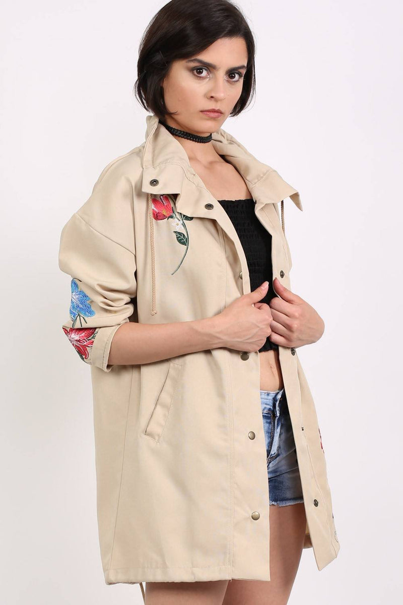 Floral Embroidered Lightweight Canvas Parka Jacket in Stone 1