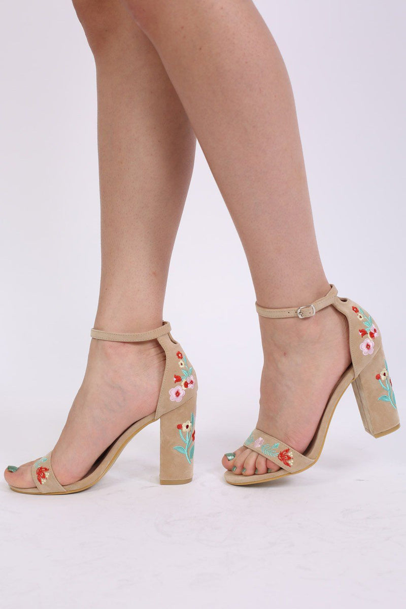 Floral Embroidered Block High Heel Sandals in Nude 0