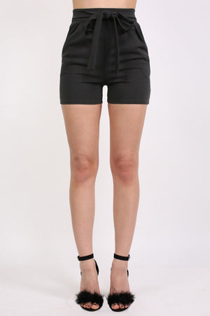 Self Belt Plain Shorts in Black 1