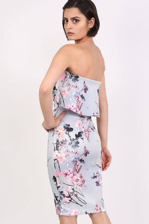 Floral V Front Bandeau Frill Detail Bodycon Midi Dress in Light Grey 1