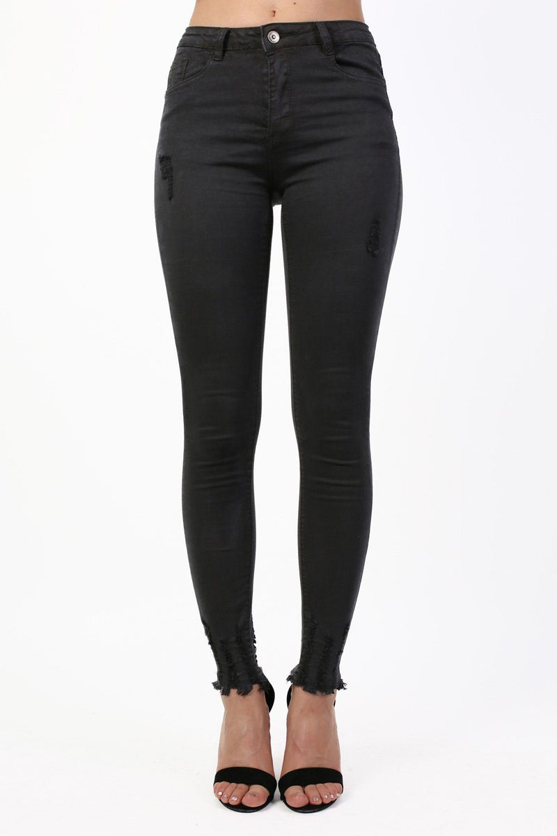 Stretch Skinny Cut Out Hem Jeans in Black 0