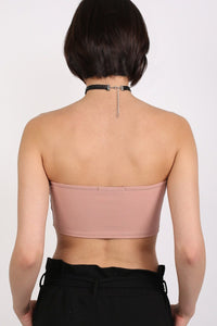 Bandeau V Front Bralet Top in Rose Pink 2
