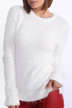 Fluffy Soft Touch Long Sleeve Knitted Jumper in Cream 4