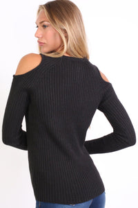 Cold Shoulder Knitted Ribbed Long Sleeve Jumper in Black 1