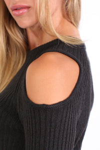 Cold Shoulder Knitted Ribbed Long Sleeve Jumper in Black 2