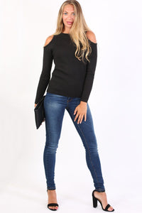 Cold Shoulder Knitted Ribbed Long Sleeve Jumper in Black 3