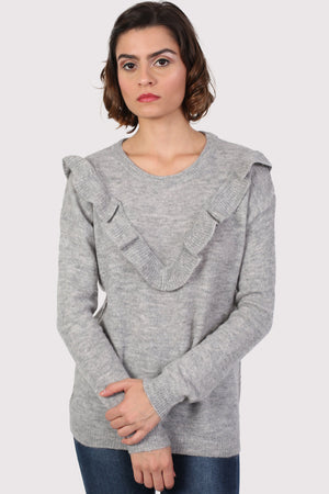 Frill Front Long Sleeve Jumper in Grey 0