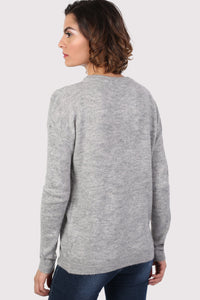 Frill Front Long Sleeve Jumper in Grey 1