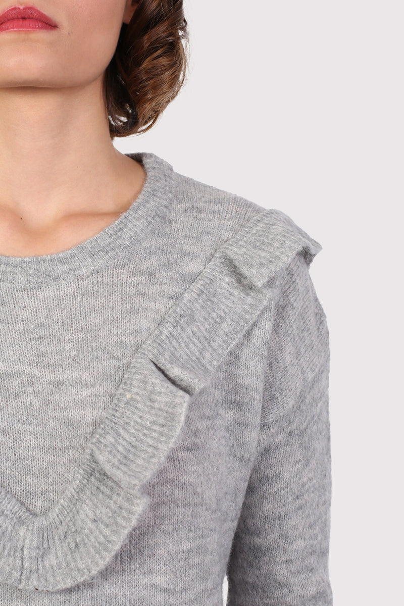 Frill Front Long Sleeve Jumper in Grey 2