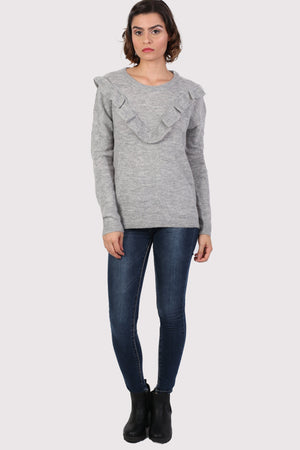 Frill Front Long Sleeve Jumper in Grey 3