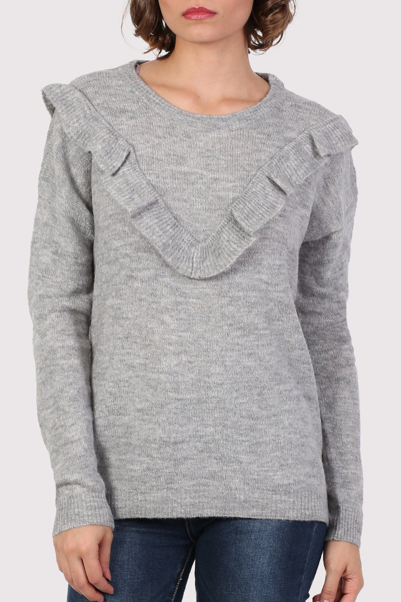 Frill Front Long Sleeve Jumper in Grey 4