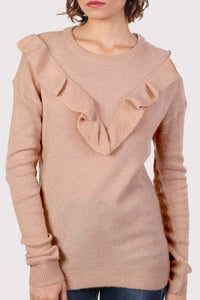 Frill Front Long Sleeve Jumper in Dusty Pink 4