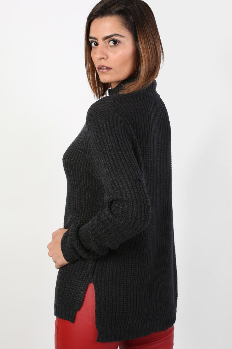 Choker V Neck Long Sleeve Ribbed Jumper in Black 2