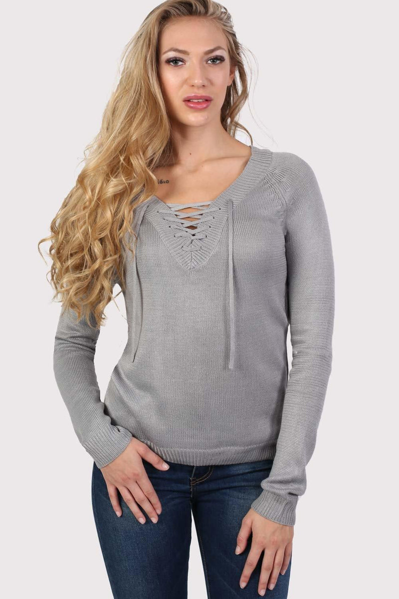 Fine Knit Lace Up Front V Neck Jumper in Light Grey 0