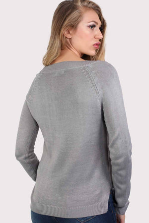 Fine Knit Lace Up Front V Neck Jumper in Light Grey 1