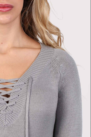 Fine Knit Lace Up Front V Neck Jumper in Light Grey 2