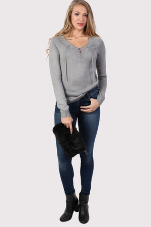 Fine Knit Lace Up Front V Neck Jumper in Light Grey 3