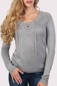 Fine Knit Lace Up Front V Neck Jumper in Light Grey 4