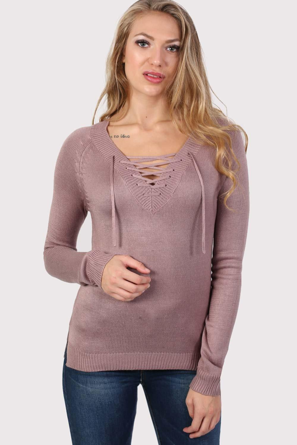 Fine Knit Lace Up Front V Neck Jumper in Dusty Pink 0