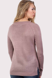 Fine Knit Lace Up Front V Neck Jumper in Dusty Pink 1