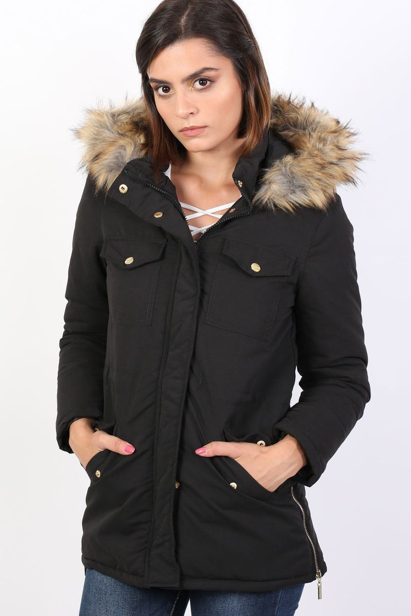 Faux Fur Trim Hooded Parka Coat in Black 0