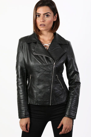 Faux Fur Trim Collar Faux Leather Biker Jacket in Black 1