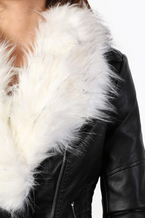 Faux Fur Trim Collar Faux Leather Biker Jacket in Black 2