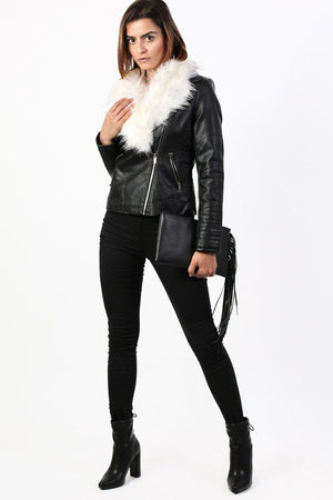 Faux Fur Trim Collar Faux Leather Biker Jacket in Black 3