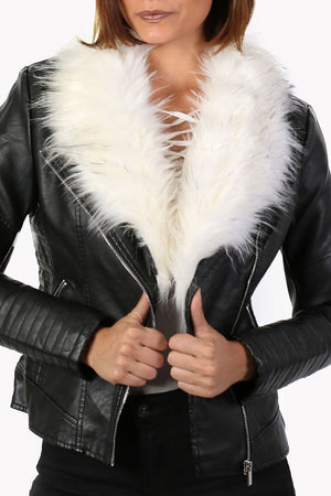 Faux Fur Trim Collar Faux Leather Biker Jacket in Black 4